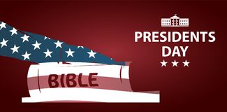 Day总统例证 总统由圣经发誓 手剪影在圣经的 免版税图库摄影