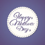 Day της κεντημένης γράφοντας ευτυχούς μητέρας. απεικόνιση αποθεμάτων
