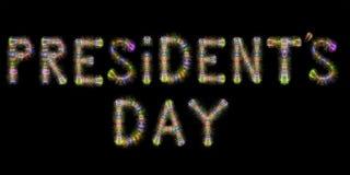 Day总统的五颜六色的闪耀的烟花水平的黑ba 库存图片