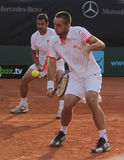 Day 2, Tennis Power Horse World Team Cup 2012. Viktor Troicki and Nenad Zimonjic of Serbia during his doubles match against Croatia. Troicki played with Zimonjic Royalty Free Stock Images