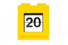 A day,20. (date calendar with yellow Royalty Free Stock Images