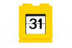 A day,31. Date calendar with yellow,31 Stock Image