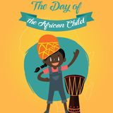 The Day of the African Child, 16 June. Happy black girl conceptual illustration royalty free illustration