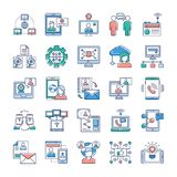 Advertising, Communication and Networking Icons Collection vector illustration