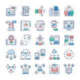 Advertising, Communication and Networking Icons Set royalty free illustration