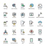 Networking Flat Vector Icons Set. This day in age, we`re all about fast, quick communication, so we hope you`ll find these Network and Communication vector Icons Royalty Free Stock Photography
