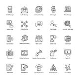Networking Line Vector Icons Set. This day in age, we`re all about fast, quick communication, so we hope you`ll find these Network and Communication vector Icons Stock Photography
