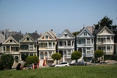 Day at Alamo Square. Postcard Row Houses, San Francisco, California Royalty Free Stock Photography