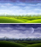 Day And Night Rolling Landscapes Royalty Free Stock Photos