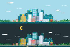Day And Night Urban Landscape City Real Estate Stock Image