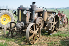 Day annual plowing with vintage tractors. VICENZA, ITALY - MARCH 20, 2016: Day annual plowing with antique tractors `Rosa` in Vicenza, Italy Royalty Free Stock Photos