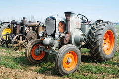 Day annual plowing with vintage tractors. VICENZA, ITALY - MARCH 20, 2016: Day annual plowing with antique tractors `Rosa` in Vicenza, Italy Stock Image