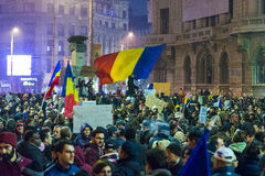 Day 4 Anti-corruption protests in Bucharest Stock Photo