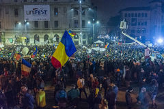 Day 3 Anti government protesters in Bucharest Stock Photos