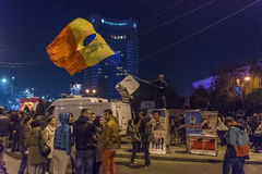 Day 3 Anti government protesters in Bucharest Royalty Free Stock Photos