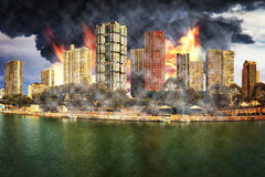 Day of the apocalypse. Apocalyptic vision of the destruction of the city - Image is an artistic digital rendering Royalty Free Stock Images