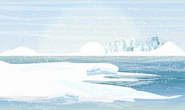 Day in the Arctic or Antarctic. Shore in the snowy mountains and snowdrifts royalty free illustration