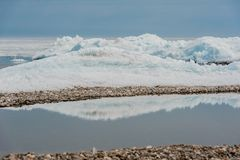 Day at Baikal Lake. Spring floating of ice Royalty Free Stock Photography