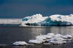 Day at Baikal Lake. Spring floating of ice Stock Photo