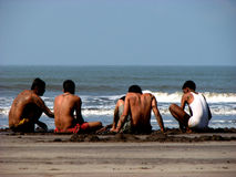 Day at the Beach. A group of Indian teenager boys enjoying their day at the beach Stock Photography