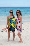 Day at the beach. Two young women enjoy a day at the beach Royalty Free Stock Photos