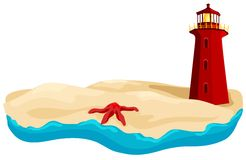 A Day At The Beach. Warm sand and cool water. A starfish lays out on the beach trying to warm up. In the distance a lighthouse is keeping watch stock illustration