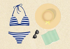 A day at the beach. Illustration of a relaxing day at the beach Stock Photo