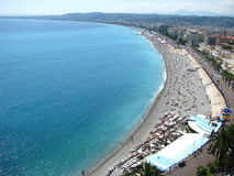 Day at the Beach in Nice, France. A view of the Beach along the Promenade des Anglais (Walk of the English) in Nice, France Stock Photography