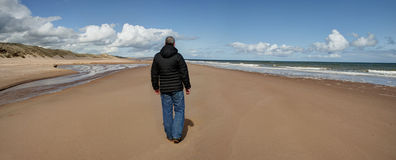 Day at the beach - Panorama. Man walking on the beach Royalty Free Stock Image