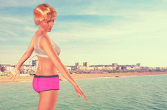 Day at the Beach in Vintage coloring Stock Photography