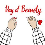 Day of beauty and girl in a plaid shirt. Vector Illustration