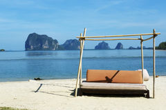 Day bed. A nice day bed, on the beach in south of Thailand Royalty Free Stock Photos