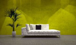 Day bed in front of a luminous wall Stock Images