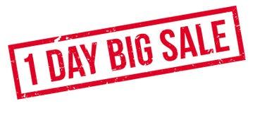 1 day big sale  rubber stamp. 1 day big sale rubber stamp on white. Print, impress, overprint Stock Image