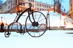 In 2009, during the Day of Blacksmiths, a forged bicycle was installed on the Turkish Square in Chernivtsi Stock Photo