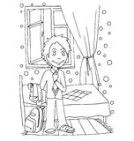 The daily day for boy student for coloring. The daily day for boy student hand drawing with black pencil for coloring isolated on the white background Royalty Free Stock Images