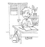 The daily day for boy student for coloring. The daily day for boy student hand drawing with black pencil for coloring  on the white background Royalty Free Stock Images