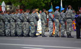 The Day of Bravery and Bulgarian Army. Soldiers in camouflage with battle flags of military units from Varna garrison  participants in a military ritual Royalty Free Stock Photos
