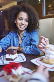 Day at cafe. Dessert with my best friend tastes doubly well stock photo