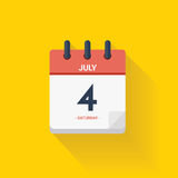 Day calendar with date July 4, 2017. Vector illustration. Vector illustration. Day calendar with date July 4, 2017. Independence concept. Yellow background Royalty Free Stock Image