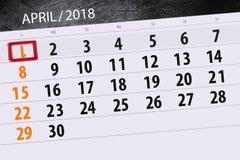 Fools day calendar page 2018 April 1. Day calendar page 2018 April 1 Stock Photos