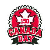 Day canada badge. Vector illustration 150 years old with canada badge badge on white background Stock Photo