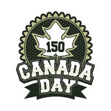 Day canada badge. Vector illustration 150 years old with canada badge badge on white background black and white Royalty Free Stock Image