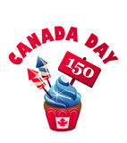 Day canada cupcake. Vector illustration festive cupcake with cream-flag and salute on the day of the celebration of canada Royalty Free Stock Photography