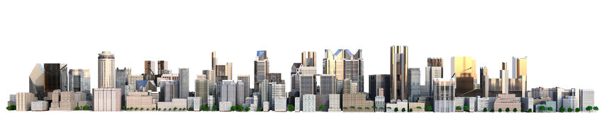 Day city with reflection 3d rendering image on white Royalty Free Stock Photography