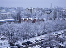 Day in the city after a snowfall, Poland. Stock Photo