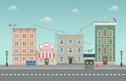 Day city urban landscape. Small town vector illustration in flat style. Royalty Free Stock Images