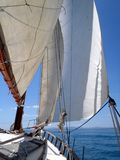 Day on a Classic Sailing Yacht. Day on a Classic Wooden Sailing Yacht on the Meditteranean Sea Stock Photo