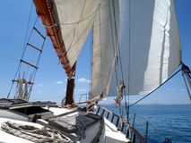 Day on a Classic Sailing Yacht Royalty Free Stock Photos