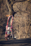 Day of commemoration of the dead in Eastern Europe. Religious monument on the side of the road. Tradition of commemoration of the dead in Eastern Europe Royalty Free Stock Photography